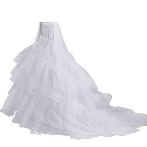 LEZAIMEI Petticoat Skirt,3-Layer Yarn 2-Hoops Bride Wedding Dress Long Trailing Skirt Petticoat Elastic Waist Drawstring Adjustable Fishtail Slip Skirts White
