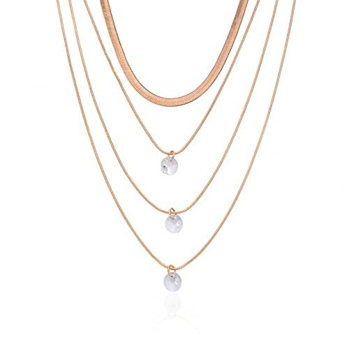Collar Colgante Joyería de múltiples capas de hueso de serpiente collar colgante de diamantes de imitación personalidad femenina simple artículo de temperamento de múltiples capas Regalo
