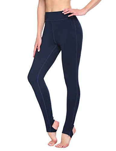 Lucyme Damen Sport Leggings High Waist Sporthose Lange Blickdicht Yogahose mit Fußstulpen