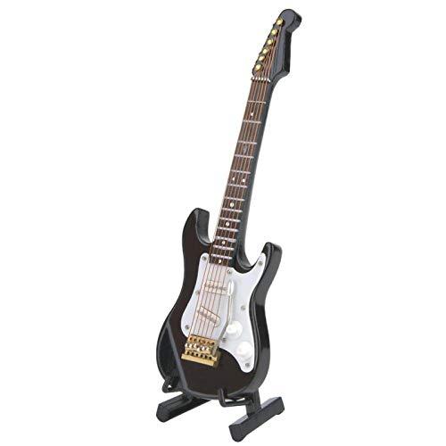 Oumefar Mini Modelo de Guitarra eléctrica con Soporte, Instrumentos Musicales en Miniatura de Madera, Adornos para decoración de café en casa, 14 cm(Negro)