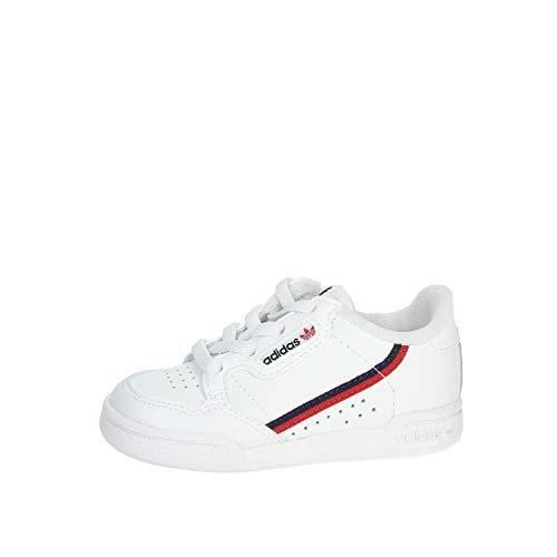 adidas Continental 80 i, Scarpe Sportive Unisex – Bimbo, Bianco (Cloud White/Scarlet/Collegiate Navy), 19 EU