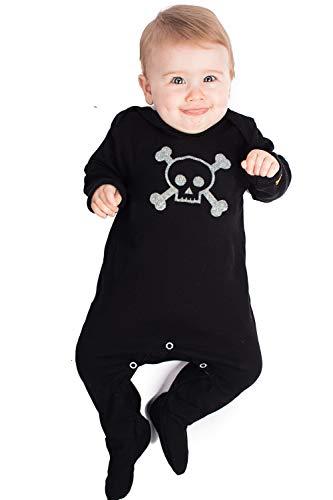 Mono con diseño de calavera y huesos cruzados de Baby Moo's para bebés; moderno pijama de pirata en color negro para niños y niñas; regalo de ideal para bebés negro negro Talla:6-12 meses