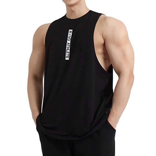 Musgneer(マスリエ) タンクトップ メンズ トレーニング ノースリーブ スポーツウェア 筋トレ Tシャツ ランニング トップス 3色 ブラック M