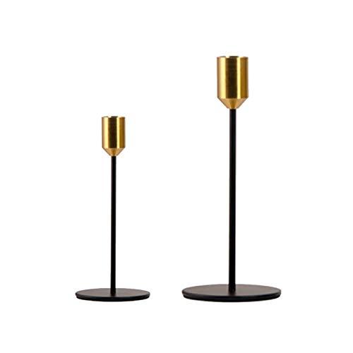 2 Stück Kerzenhalter, Kerzenhalter-Set, Gold & Schwarz, schmale Kerzenhalter, lange Kerzenhalter für Hochzeit, Abendessen, Party