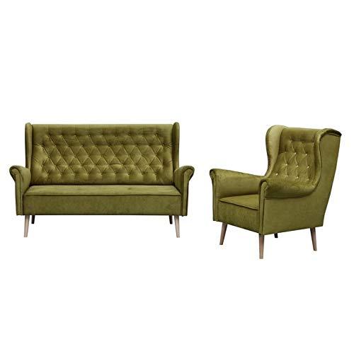 MOEBLO Polstergarnitur Ohrensofa 2 Sitzer und Sessel Sofa Couch Garnitur Stoff Samt (Velour) Glamour Wohnlandschaft Chesterfield - Velo (Grün)