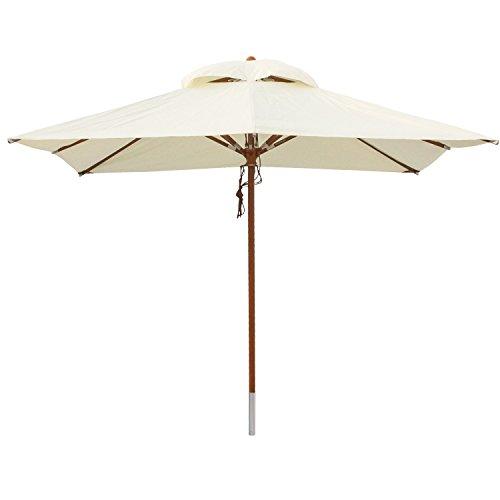 anndora® Sonnenschirm Gartenschirm 3 x 3 m eckig wasserabweisend - mit Winddach Natural