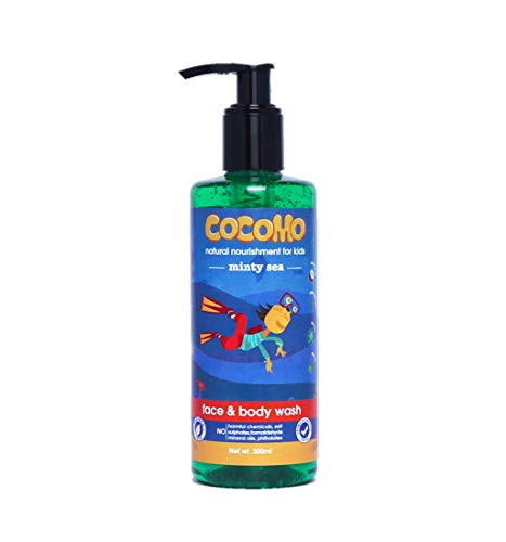Cocomo Natural Olive & Coconut Oil Kids Face & Body Wash, Minty Fragrance, Soft & Healthy Skin | Minty Sea 300ml (Age: 4+)