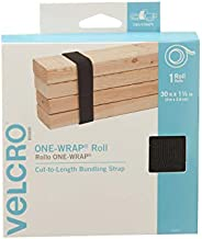 VELCRO Brand ONE-WRAP Roll Black   30 Ft x 1-1/2 In   Reusable Self-Gripping Hook and Loop Tape   Cut Straps to Bundle Tie Materials and Tools in Garage Shed or Worksite