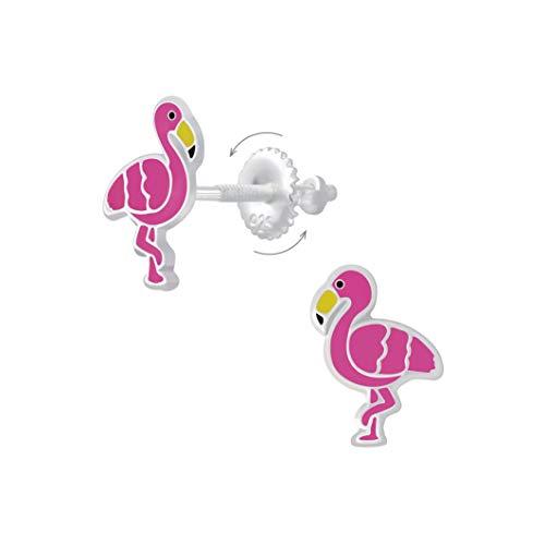 Laimons Pendientes infantiles con diseño de flamenco, 10 mm, color rosa, con cierre para girar, de plata de ley 925