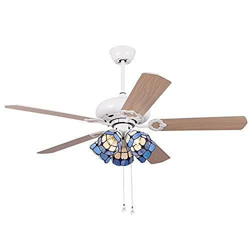 48/52 pulgadas 5 cuchillas reversibles Ventilador de techo con 5 luces de estilo Tiffany y estilo mediterráneo remoto LED lámpara de araña marrón cuchillas de fachada Luces de ventilador de techo regu