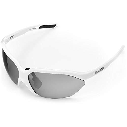 Briko - Occhiali da sole per ciclismo, unisex, per adulti, colore: bianco