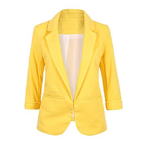 LaoZan Mujer Negocios Oficina Corto Blazer Solapa Frente Abierto 3/4 Mangas Blazer Elegante Moda Cómodo Outwear Abrigo Cárdigan (Amarillo,Asia L)