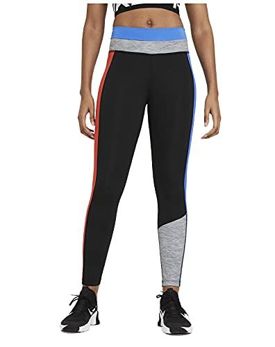 Nike Leggings de bloque de color 7/8 de talle medio para mujer, Negro/Light Photo Azul/Chile Red, Small