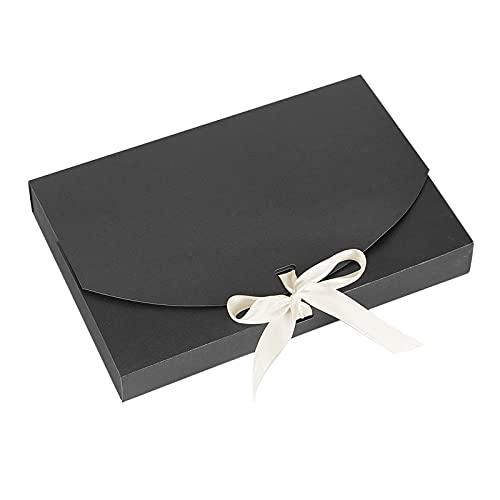 YJZQ - Sacchetto regalo a forma di busta, in carta kraft, regalo di Natale, 10 pezzi, con nastro in seta, per sciarpe, fazzoletti
