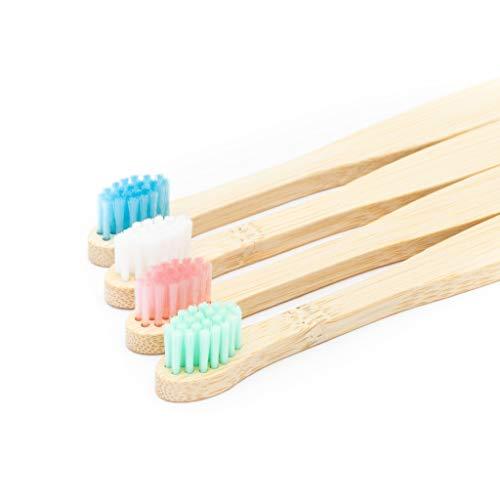 Brosse à dents en bambou bio pour bébé | Quatre Couleur | Doux fibre Soies | Sans BPA | Poignée...