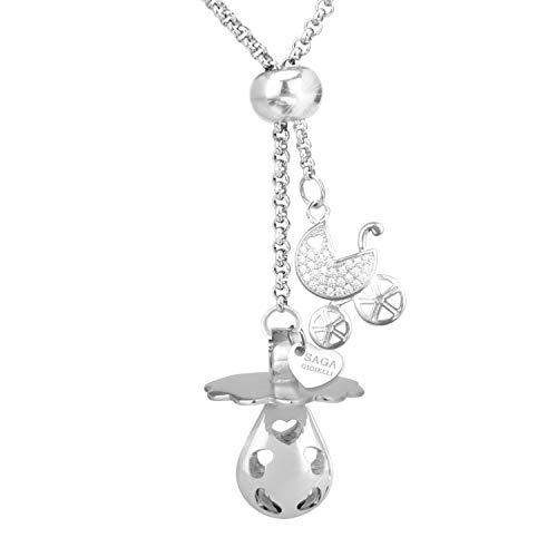 Saga joyas–Collar llamador de ángeles chupete–Conjunto de longitud ajustable Charm silla de...