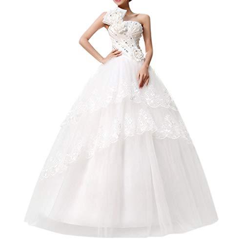 2015 nouveau Robe mariée Robe de mariage femme blanc élégante dentelle à dos nu avec des fleurs (XX-Large / FR 40)