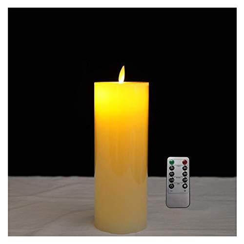 Colonna a LED 7,5 x 15 cm, vera cera bianca, funzionamento a batteria con telecomando