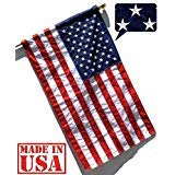 US Flag Factory - 3x5 FT American Flag (Pole Sleeve) (Embroidered Stars, Sewn Stripes) Outdoor SolarMax Nylon Flag - 100% Made in America (3x5 FT)