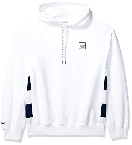 Lacoste Men's Long Sleeve MIS French Terry Nylon Sweatshirt with Hoodie, White/Navy Blue, XX-Large