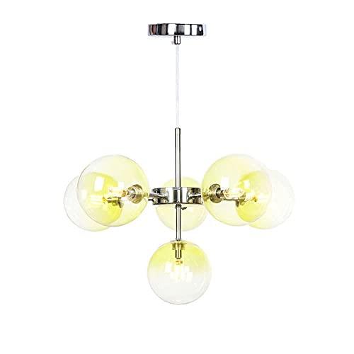 GXY bathtub Luz Colgante de Bola de Cristal Decorativa múltiple nórdica, lámpara de Techo de Burbujas de Personalidad Moderna, Sala de Estar, Sala de huéspedes y araña de Dormitorio (Color: Amarillo)