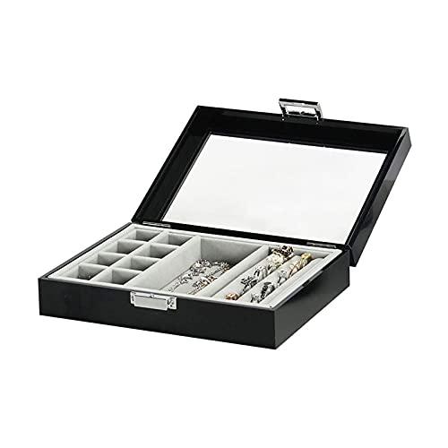 LSLS Caja joyero Caja de joyería, Organizador de joyería Funda de Almacenamiento de acrílico Transparente para Anillos Pendientes Collar Organizador de Joyas