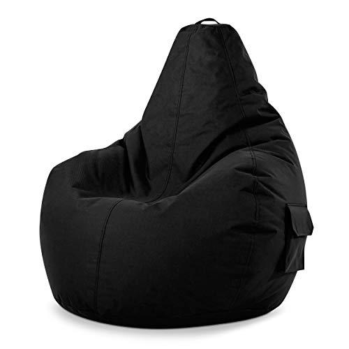 Green Bean © Cozy Beanbag, Gaming Sitzsack Sessel 80x70x90 cm, 230 Liter EPS Perlen Füllung, Indoor Gamingstuhl & Outdoor Gamer Sitzkissen, Bean Bag Lounge Chair für Kinder & Erwachsene, Schwarz