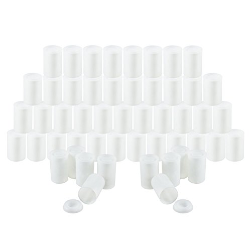 Houseables Film Canisters with Caps, 35MM Empty Camera Reel Containers, 60 Pack, White, 2