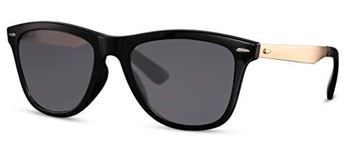 CWI Gafas de sol ovaladas, unisex, categoría 3, negro/dorado