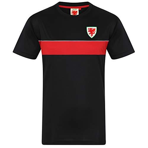 Wales FAW - Herren Trainingstrikot aus Polyester - Offizielles Merchandise - Geschenk für Fußballfans - Schwarz - L