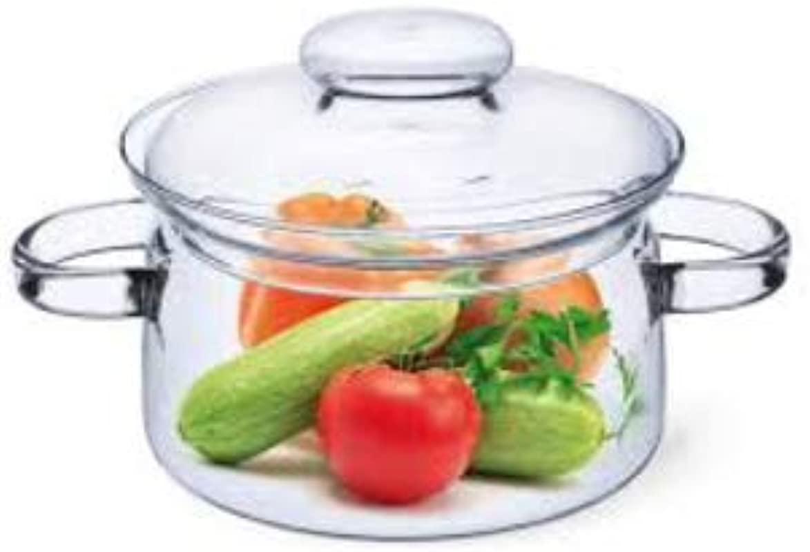 Simax Glassware 1 Quart Glass Pot With Lid Heat Resistant Handles Doubles As Serving Dish Made From Oven Microwave Stove And Dishwasher Safe Borosilicate Glass