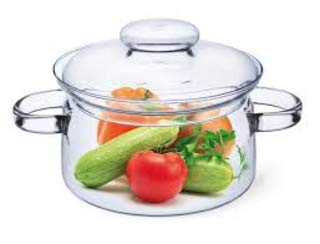 Simax Glassware 1 Quart Glass Pot | With Lid, Heat Resistant Handles, Doubles as Serving Dish, Made from Oven, Microwave, Stove and Dishwasher Safe Borosilicate Glass