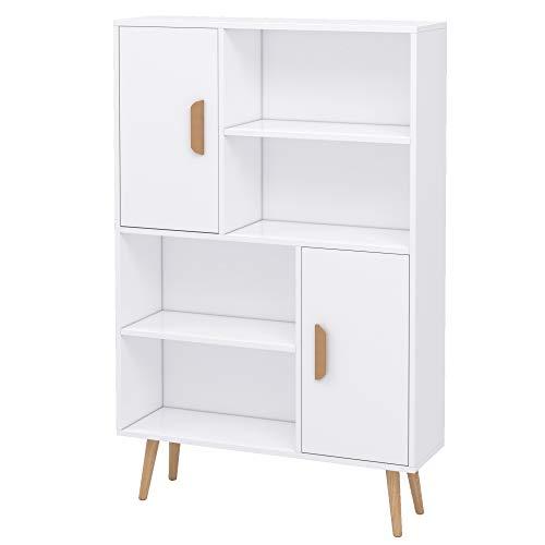 HOMCOM Sideboard Bookshelf Free Standing Bookcase Shelves Unit Display Storage Cabinet Wooden Leg w/Two Doors White