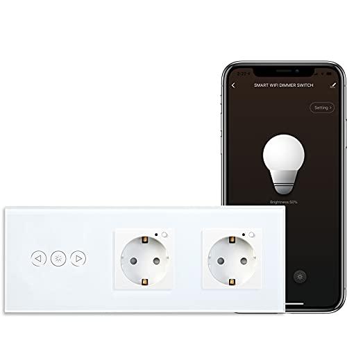 BSEED WiFi Smart Alexa Dimmer Lichtschalter mit Doppelt Steckdose, Kompatibel mit Google Home Tuya, Glas Touchscreen-schalter Wlan Lichtschalter (Neutrale Leitung Benötigt) 1 Fach mit Steckdose Weiß