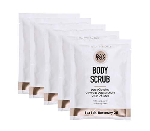 DAYTOX - Body Scrub - Reichhaltiges Detox Ölpeeling mit Meersalz - Vegan, ohne Farbstoffe, silikonfrei und parabenfrei - 5 x 50 g