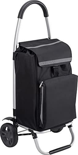 Meister Einkaufstrolley - 54 Liter - Extra große Reifen - Mit Kühlfach - Abnehmbare & regenfeste Tasche - Aufhängung für den Einkaufswagen / Klappbarer Shopper / Einkaufsroller / Handwagen / 6816800