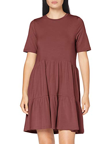 VERO MODA Damen VMJAVA SS Peplum Short Dress GA Kleid, Rose Brown, M