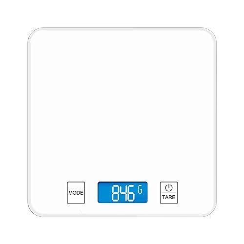 Küchenwaage Electronic Said Haushalt Backen Kochen Kleine Tischwaage Gehärtetes Glas LCD-Display Hohe Präzision Kompakt Tragbar (Ohne Batterie), Weiß, S