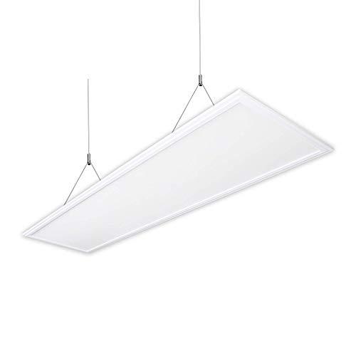 ELG Leuchten LED Pendelleuchte Panelleuchte 40 Watt 4010 Lumen 120cm 4000K Neutralweiss (inklusive Treiber, runder Deckenbaldachin,Seilaufhängung)