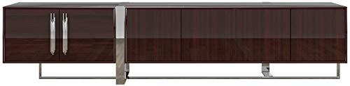 Casa Padrino gabinete TV Art Deco de Lujo marrón Oscuro/Plata 245 x 45 x A. 55 cm - Mueble de televisión Noble con 6 Puertas - Muebles Art Deco