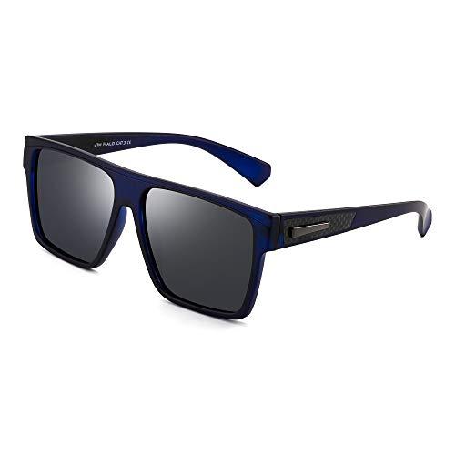 JIM HALO Gafas de sol retro polarizadas Hombres Mujeres Gafas de conducción cuadradas con parte superior plana (Marco azul/Lente azul polarizada)