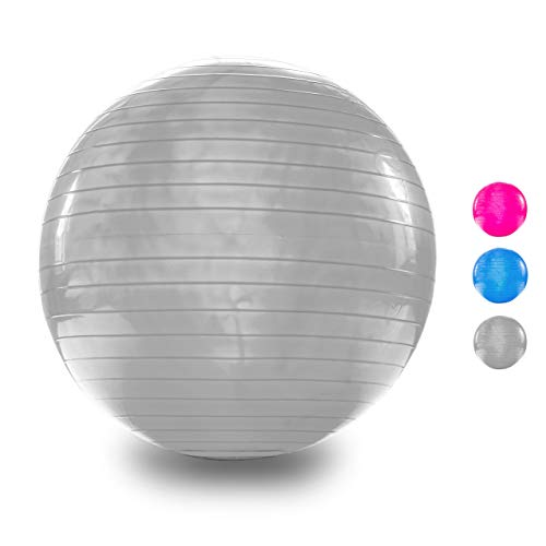 VELOVITA Gymnastikball – Yoga Retreat • grau • 65 cm • inkl. Luftpumpe • rutschfest • Anti-Burst Technologie • Büro-Sitzball • Yogaball • Ball für Yoga, Pilates & Home-Workouts