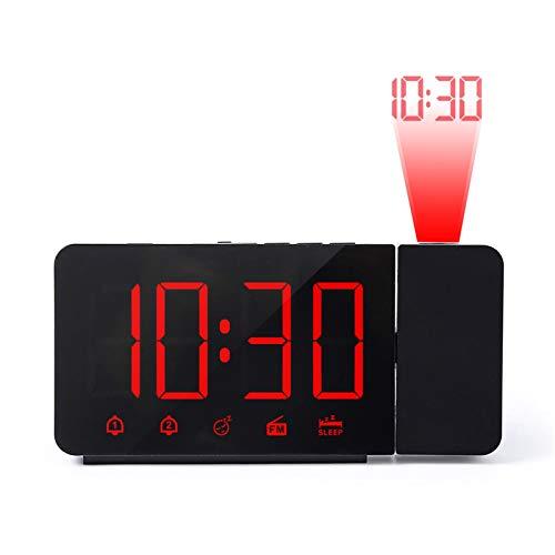 Reloj despertador digital LED reloj despertador electrónico de mesa reloj de carga USB con radio FM proyector de tiempo función de repetición 4 alarma digital rojo