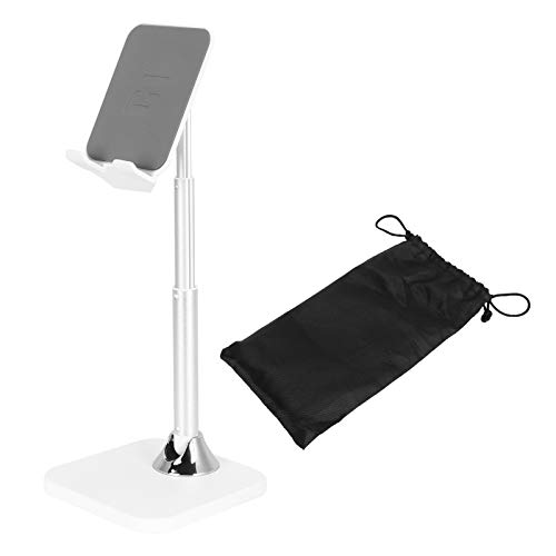 Zerodis Soporte de Tableta Plegable Universal Soporte de Soporte Clip de Soporte Soporte de teléfono móvil Ajustable para transmisión en Vivo(Plata)