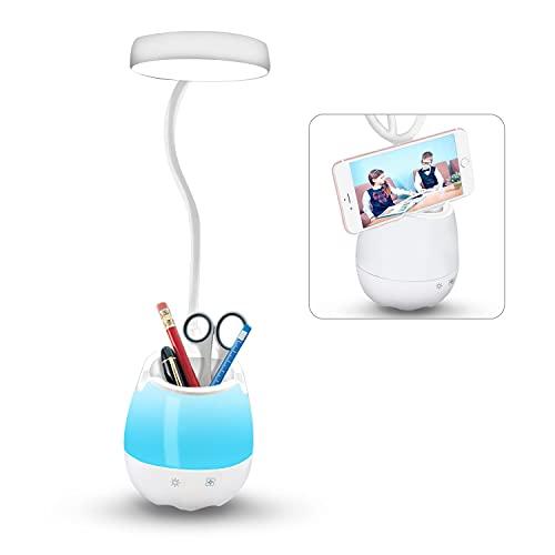 Uni-Fine Shop 5 in 1 LED Augenschutz Schreibtischlampe Kinder Unendliches Dimmen 360° Verstellbar Aufladbare Leselampe mit Touch Schalter Nachttischlampe mit Nachtlicht für Lernen, Arbeiten, Make-ups