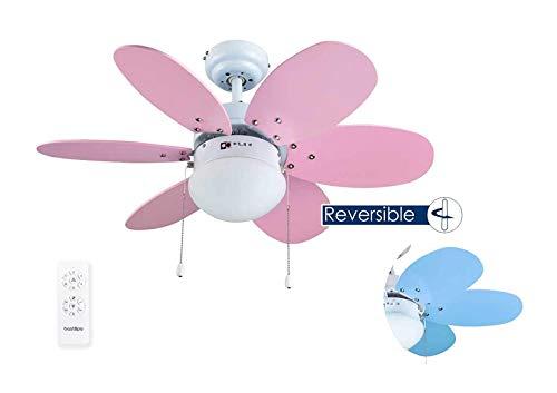 Bastilipo Aguadulce RC-Ventilador de Techo con Mando a distancia-60W y 75cm diametro-E27 60W, Rosa/Azul, 75 cm