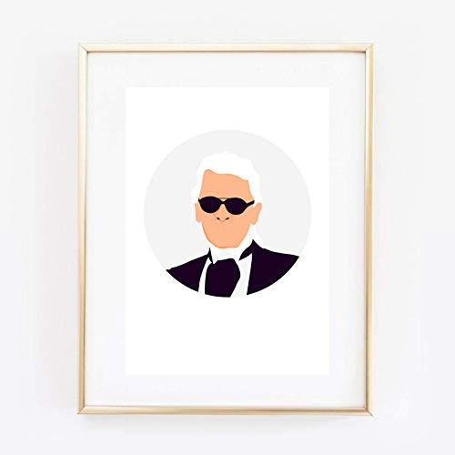 Din A4 Kunstdruck ungerahmt Karl Lagerfeld Portrait Designer Ikone Grafik Modern Geschenk Druck Poster Bild