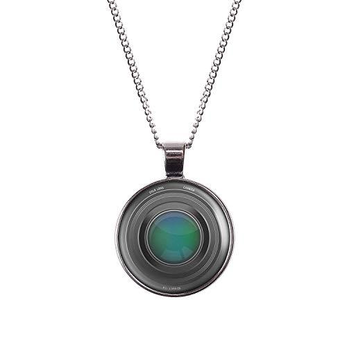 Mylery Collana con Motivo Lente DSLR Obiettivo della Fotocamera Digitale Argento 28mm