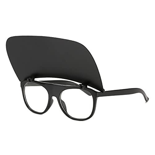 JIYANANDPNTYJ Gafas De Sol Mujer Moda Retro Flip Sunglasses Sunglass Sungses de Dama Gafas de Sol Sombra de Viaje al Aire Libre (Lenses Color : Black Clear)
