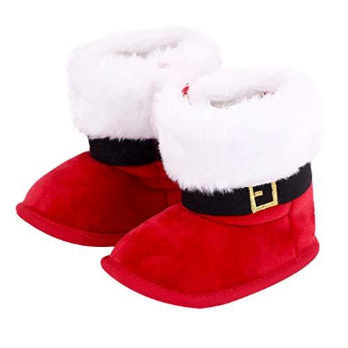Holibanna Natale Stivaletti Invernali per Neonata Scarpe Primi Passi Pile Caldo Stivali Stivali Invernali Scarpe per Bambina (Rosso-13 Cm / 14 Dimensioni)